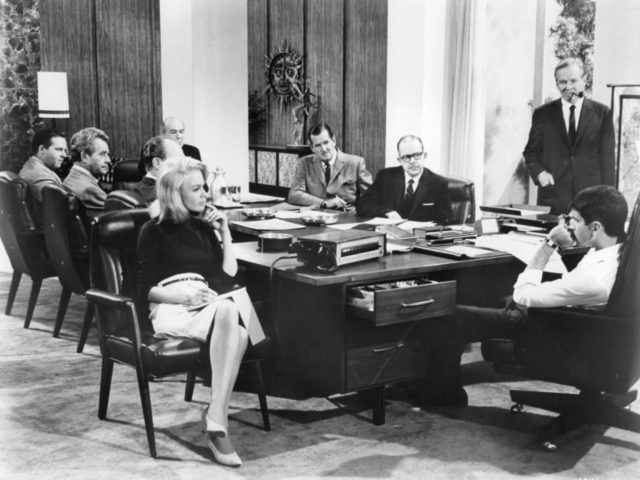 Sandra Dee as a private secretary at a board meeting in a scene from the film 'Doctor, You've Got To Be Kidding', 1967. (Photo by Metro-Goldwyn-Mayer/Getty Images)