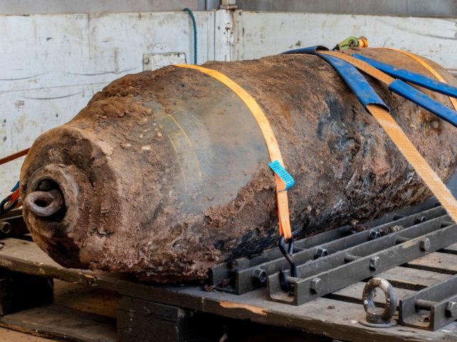 A defused WWII bomb, after 16,000 people were evacuated due to the defusing of the bomb near the European Central Bank in Frankfurt, Germany, Sunday, July 7, 2019. The bomb was discovered during construction work. (AP Photo/Michael Probst)