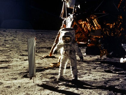 """376713 20: (FILE PHOTO) The deployment of scientific experiments by Astronaut Edwin Aldrin Jr. is photographed by Astronaut Neil Armstrong. Man's first landing on the Moon occurred July 20, 1969 as Lunar Module """"Eagle"""" touched down gently on the Sea of Tranquility on the east side of the Moon. The …"""