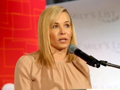 """LOS ANGELES, CA - FEBRUARY 27: Chelsea Handler speaks onstage at EMILY's List's """"Resist, Run, Win"""" Pre-Oscars Brunch on February 27, 2018 in Los Angeles, California. (Photo by Rachel Murray/Getty Images for EMILY's List)"""