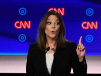 Democratic presidential hopeful US author and writer Marianne Williamson delivers her closing statement during the first round of the second Democratic primary debate of the 2020 presidential campaign season hosted by CNN at the Fox Theatre in Detroit, Michigan on July 30, 2019. (Photo by Brendan Smialowski / AFP) (Photo …