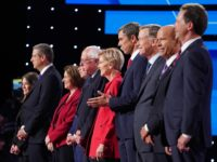 DETROIT, MICHIGAN - JULY 30: Democratic presidential candidates Marianne Williamson, (L-R), Rep. Tim Ryan (D-OH), Sen. Amy Klobuchar (D-MN), Indiana Mayor Pete Buttigieg, Sen. Bernie Sanders (I-VT), Sen. Elizabeth Warren (D-MA), former Texas congressman Beto O'Rourke, former Colorado governor John Hickenlooper, former Maryland congressman John Delaney, and Montana Gov. Steve …