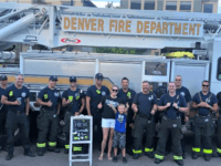 Brady Campbell and his mom Amanda with the Denver Fire Department. (Denver Fire Department )