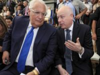 US Ambassador to David Friedman (L) speaks with White House Middle East envoy Jason Greenblatt during the opening of an ancient road at the City of David archaeological and tourist site in the Palestinian neighbourhood of Silwan in east Jerusalem on June 30, 2019. - White House adviser Jason Greenblatt …