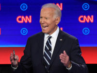 Democratic presidential hopeful Former Vice President Joe Biden gestures as he speaks during the second round of the second Democratic primary debate of the 2020 presidential campaign season hosted by CNN at the Fox Theatre in Detroit, Michigan on July 31, 2019. (Photo by Jim WATSON / AFP) (Photo credit …