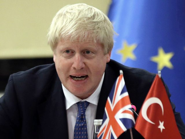 British Foreign Minister Boris Johnson holds a press conference with the Turkish EU Affairs minister (not seen) in Ankara on September 26, 2016. / AFP / ADEM ALTAN (Photo credit should read ADEM ALTAN/AFP/Getty Images)