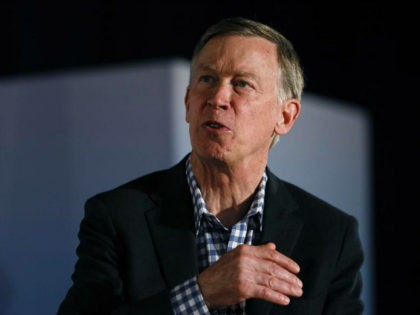 Democratic presidential candidate John Hickenlooper speaks during a presidential candidates forum sponsored by AARP and The Des Moines Register, Monday, July 15, 2019, in Des Moines, Iowa. (AP Photo/Charlie Neibergall)