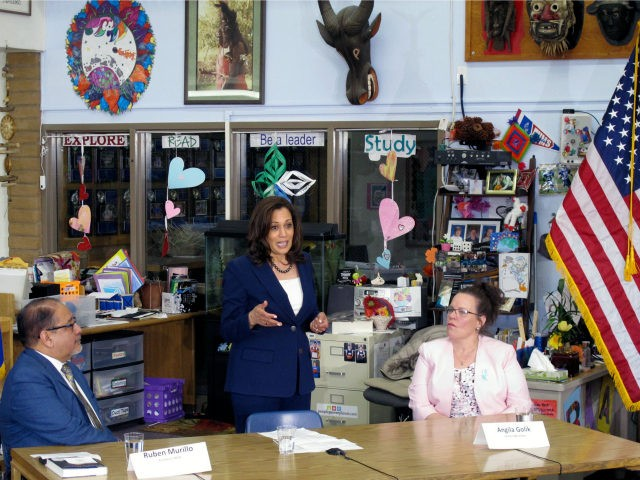 California Sen. Kamala Harris talks to teachers during an education round-table at Eagle Valley Middle School in Carson City, Nev. during her first presidential campaign trip to northern Nevada on Tuesday, April 2, 2019. Harris says that in addition to raising teacher salaries she would vigorously defend the rights of …