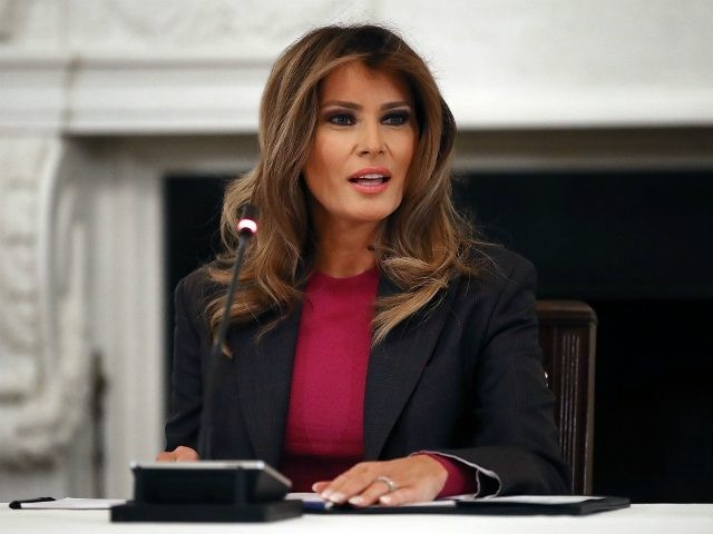 WASHINGTON, DC - MARCH 20: U.S. first lady Melania Trump hosts a roundtable discussion on cyber safety and technology with industry experts in the State Dining Room at the White House March 20, 2018 in Washington, DC. In the first major policy push in her effort to combat cyberbullying, the …