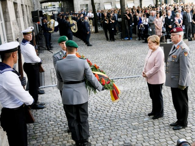 BERLIN, GERMANY - JULY 20: German Chancellor Angela Merkel (2nd R), attends a memorial event at the Defence Ministry on July 20, 2019 in Berlin, Germany.The ceremony takes place place in memory of the resistance against the National Socialist dictatorship on the occasion of the 75th anniversary of the failed …