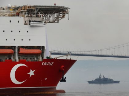 Turkey's 230-meter (750-foot) drillship 'Yavuz' escorted by a Turkish Navy vessel, crosses the Marmara Sea on its way to the Mediterranean, from the port of Dilovasi, outside Istanbul, Thursday, June 20, 2019. Turkey had launched Yavuz, that it says will drill for gas off neighboring Cyprus despite European Union warnings …