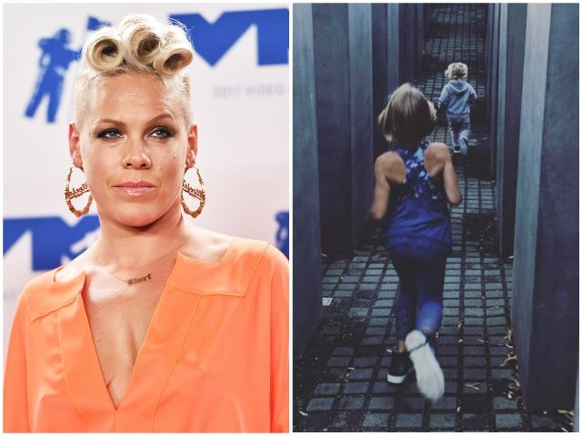 Pink defends photo of her kids running through Holocaust Memorial