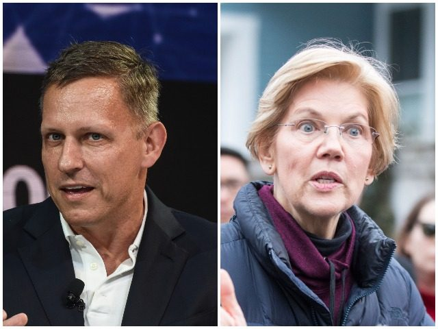 """Appearing Monday on the Fox News Channel, billionaire technology investor and Trump supporter Peter Thiel said Sen. Elizabeth Warren (D-CA) is the most """"dangerous"""" 2020 White House hopeful."""
