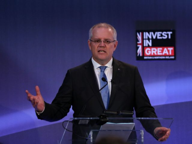 Australian Treasurer Scott Morrison speaks during the The International FinTech Conference 2018, in central London on March 22, 2018. / AFP PHOTO / POOL / DANIEL LEAL-OLIVAS (Photo credit should read DANIEL LEAL-OLIVAS/AFP/Getty Images)