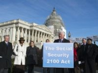 Rep. John B. Larson, D-Conn., accompanied by members of the House Ways & Means Committee, Social Security advocates, speaks during a news conference on Capitol Hill in Washington, Wednesday, March 18, 2015, to announce the introduction of the Social Security 2100 Act. (AP Photo/Molly Riley)