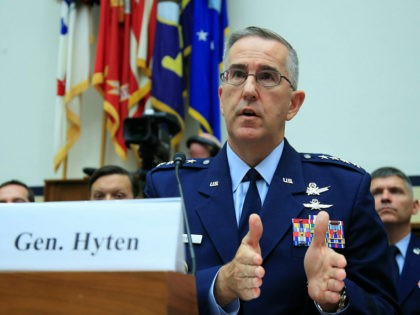 U.S. Strategic Command Commander Gen. John Hyten, testifies before a House Committee on Science, Space, and Technology Space Subcommittee and House Armed Services Committee Strategic Forces Subcommittee joint hearing on 'Space Situational Awareness: Whole of Government Perspectives on Roles and Responsibilities' on Capitol Hill in Washington, Friday, June 22, 2018. …