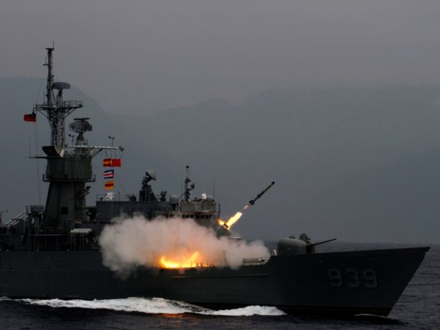 An anti-submarine rocket (ASROC) is fired from a Knox-class frigate during a military drill at sea near eastern Hualien on May 22, 2019. (Photo by HSU Tsun-hsu / AFP) (Photo credit should read HSU TSUN-HSU/AFP/Getty Images)