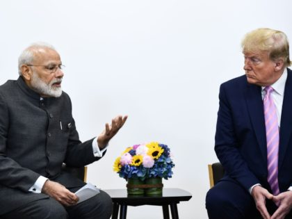 India's Prime Minister Narendra Modi (L) attends a meeting with US President Donald Trump during the G20 Osaka Summit in Osaka on June 28, 2019. (Photo by Brendan Smialowski / AFP) (Photo credit should read BRENDAN SMIALOWSKI/AFP/Getty Images)