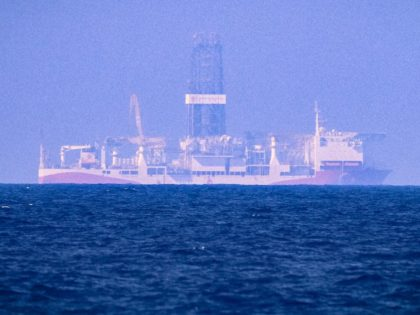 A picture taken on June 24, 2019 in the Mediterranean Sea off Cyprus approximately 20 nautical miles north-west of Paphos shows the drilling vessel Fatih, which was deployed by Turkey to search for gas and oil in waters considered part of the EU state's exclusive economic zone (EEZ). - Cyprus …