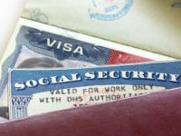 "Social Security Card - stock photo American Visa and Social Security Card with '""Valid for work only with DHS authorisation""'"