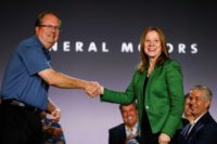 General Motors CEO Mary Barra and United Auto Workers President Gary Jones open the 2019 contract talks with the traditional ceremonial handshake