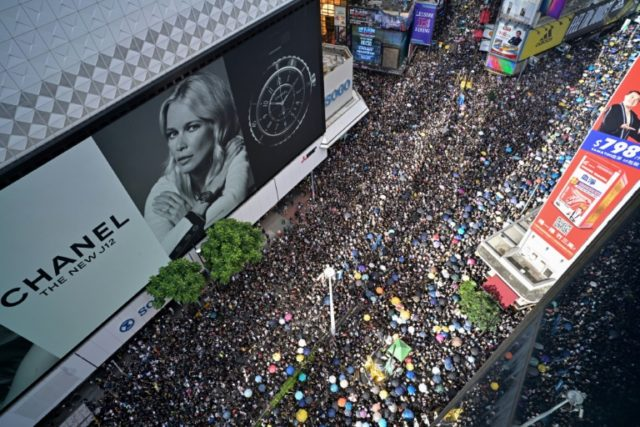 Another huge anti-government protest snaked its way through Hong Kong on Sunday