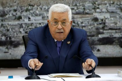 Palestinian president Mahmud Abbas at a meeting with the Palestinian leadership in the West Bank city of Ramallah