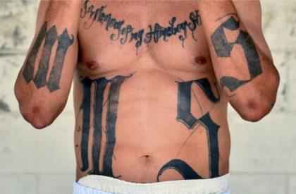 Former MS-13 gang leader Valmis Mejia, or 'el Bambi', is pictured at Santa Ana prison northwest of El Salvador's capital San Salvador