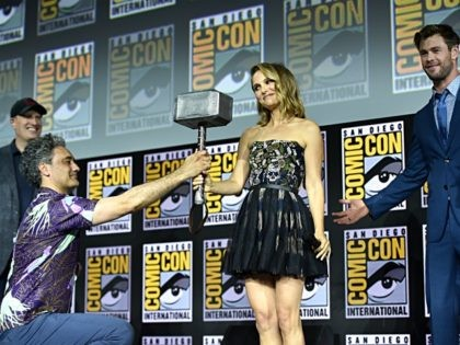SAN DIEGO, CALIFORNIA - JULY 20: (L-R) President of Marvel Studios Kevin Feige, Director Taika Waititi, Natalie Portman and Chris Hemsworth of Marvel Studios' 'Thor: Love and Thunder' at the San Diego Comic-Con International 2019 Marvel Studios Panel in Hall H on July 20, 2019 in San Diego, California. (Photo …