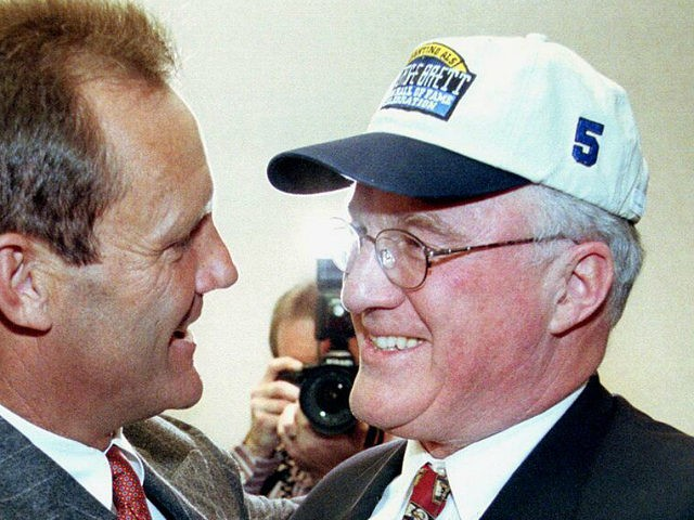 KANSAS CITY, MO - JANUARY 5: Former Kansas City Royals baseball player George Brett is congratulated by Miles Prentice, the reported new owner of the Royals, after Brett was voted into the National Baseball Hall of Fame by the Baseball Writers' Association of America 05 January in Kansas City. The …