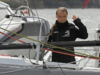 PLYMOUTH, ENGLAND - AUGUST 14: Climate change activist Greta Thunberg sets sail for New York in the 60ft Malizia II yacht from Mayflower Marina, on August 14, 2019 in Plymouth, England. Greta Thunberg is a teenage activist born in Sweden in 2003. She began protesting outside the Belgian Parliament aged …