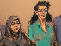 FILE- In this April 2, 2015 courtroom file sketch, defendants Noelle Velentzas, left and Asia Siddiqui, appear at federal court in New York after they were arrested for plotting to build a homemade bomb and wage jihad in New York City. By combing the web, attorneys for the two defendants …