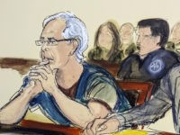 FILE - In this July 15, 2019 courtroom artist's sketch, defendant Jeffrey Epstein, left, and his attorney Martin Weinberg listen during a bail hearing in federal court, in New York. Officials say the FBI and U.S. Inspector General's office will investigate how Epstein died in an apparent suicide, while the …