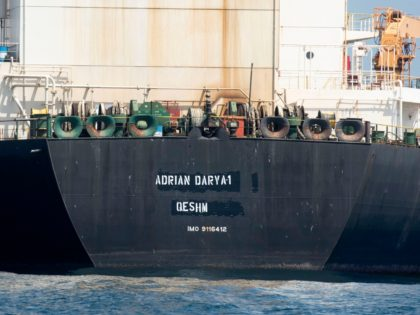 """A view of the Grace 1 super tanker with the name """"Adrian Darya 1"""" over the place where """"Grace 1"""" had already been blackened out is seen in the British territory of Gibraltar, Saturday, Aug. 17, 2019. The shipping agent for an Iranian supertanker caught in a diplomatic standoff says …"""