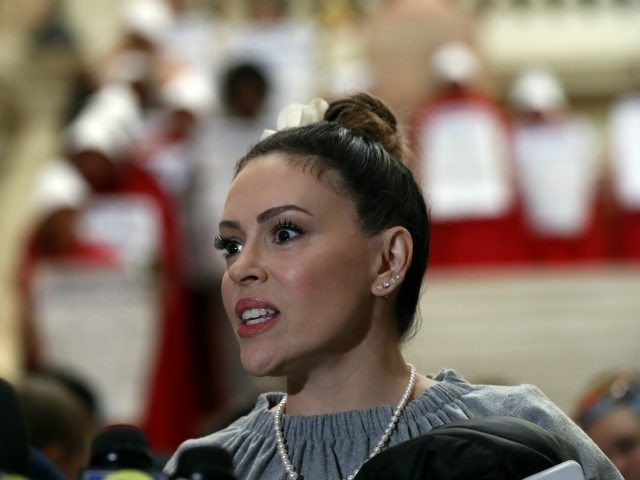 Actress Alyssa Milano speaks after delivering a letter to Gov. Brian Kemp's office detailing her opposition to HB 481 at the State Capitol Tuesday, April 2, 2019, in Atlanta. HB 481 would ban most abortions after a heart beat is detected. (AP Photo/John Bazemore)
