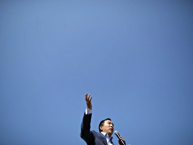 DES MOINES, IOWA - AUGUST 09: Democratic presidential candidate Andrew Yang delivers a 20-minute campaign speech at the Des Moines Register Political Soapbox at the Iowa State Fair August 09, 2019 in Des Moines, Iowa. Twenty two of the 23 politicians seeking the Democratic Party presidential nomination will be visiting …