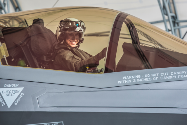 Capt. Anneliese Satz conducts pre-flight checks prior to a training flight aboard Marine Corps Air Station Beaufort, March 11. Satz graduated the F-35B Lighting II Pilot Training Program June and will be assigned to Marine Fighter Attack Squadron 121 in Iwakuni, Japan.