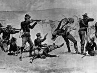 December 1890: Members of the 7th Cavalry firing the opening shots in the Battle of Wounded Knee where over 300 Sioux were slaughtered in a few minutes. Original Artist - Frederic Remington (1861-1909) (Photo by MPI/Getty Images)