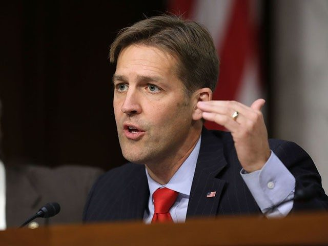 WASHINGTON, DC - OCTOBER 31: Senate Judiciary Committee member Sen. Ben Sasse (R-NE) (R) questions witnesses from Google, Facebook and Twitter during a Crime and Terrorism Subcommittee hearing in the Hart Senate Office Building on Capitol Hill October 31, 2017 in Washington, DC. The committee questioned the tech company representatives …