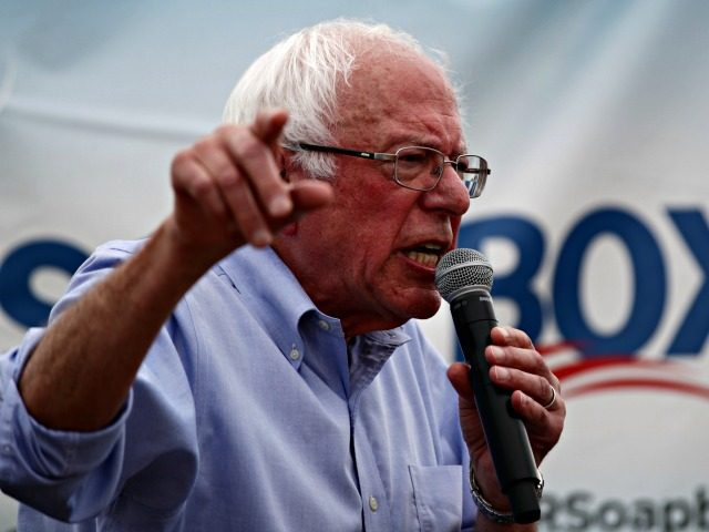 DES MOINES, IOWA - AUGUST 11: Democratic presidential candidate U.S. Sen. Bernie Sanders (I-VT) delivers campaign speech at the Des Moines Register Political Soapbox at the Iowa State Fair on August 11, 2019 in Des Moines, Iowa. 22 of the 23 politicians seeking the Democratic Party presidential nomination will be …