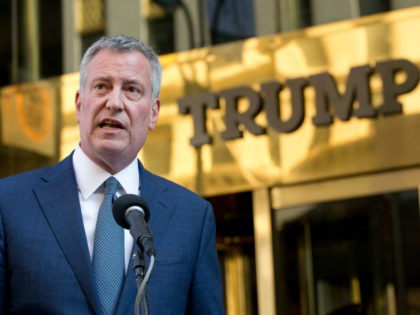 This Nov. 16, 2016, file photo shows New York Mayor Bill de Blasio holding a news conference in front of Trump Tower following a meeting with President-elect Donald Trump in New York. Mayor Bill de Blasio, the Rev. Al Sharpton and celebrities including Mark Ruffalo, Michael Moore and Rosie Perez …