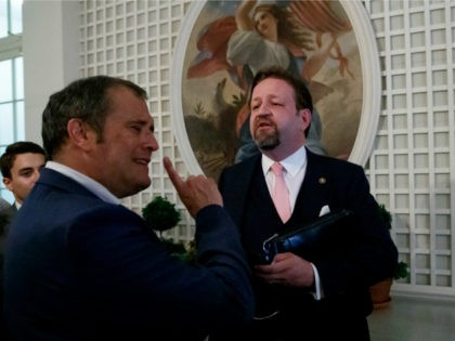 Radio host Sebastian Gorka, right, speaks with Playboy's Brian Karem, left, after President Donald Trump spoke about the 2020 census in the Rose Garden of the White House, Thursday, July 11, 2019, in Washington. (AP Photo/Alex Brandon)