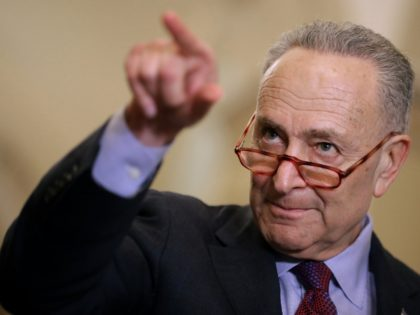 WASHINGTON, DC - MARCH 05: Senate Minority Leader Charles Schumer (D-NY) talks to reporters following the weekly Democratic Senate policy luncheon at the U.S. Capitol March 05, 2019 in Washington, DC. With the support of at least four Republicans, the Senate seems poised to approve a resolution of disapproval on …