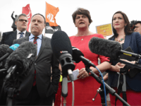 BELFAST, NORTHERN IRELAND - JULY 31: DUP leader Arlene Foster and deputy leader Nigel Dodds speak to the media following their meeting with Prime Minister Boris Johnson at Stormont on July 31, 2019 in Belfast, Northern Ireland. The Prime Minister is on his first official visit to Northern Ireland to …