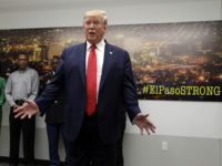 President Donald Trump speaks to the media as he visits the emergency operations center after meeting with people affected by the El Paso mass shooting, Wednesday, Aug. 7, 2019, in El Paso, Texas. (AP Photo/Evan Vucci)