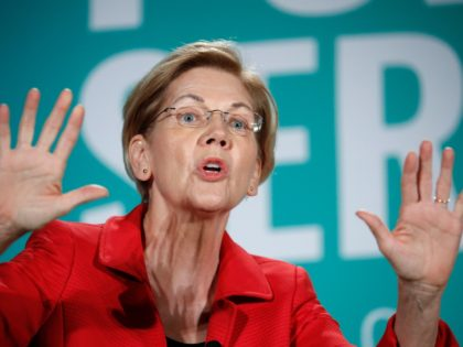 Democratic presidential candidate Sen. Elizabeth Warren, D-Mass., speaks during a candidate forum on labor issues Saturday, Aug. 3, 2019, in Las Vegas. (AP Photo/John Locher)