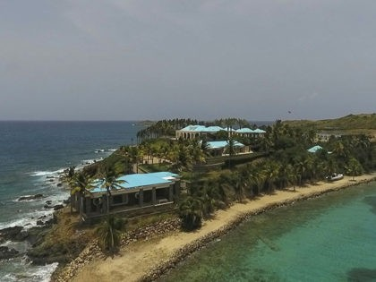 This Tuesday, July 9, 2019 video frame grab shows an aerial view of Little Saint James Island, in the U. S. Virgin Islands, a property purchased by Jeffery Epstein more than two decades ago. Epstein built on the island a stone mansion with cream-colored walls and a bright turquoise roof …