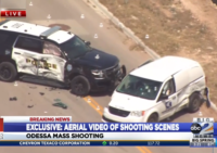 A helicopter view of the final shooting scene where police shot and killed the Midland-Odessa Shooter. (Image: YourBasin.com Video Screenshot)