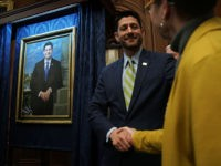 WASHINGTON, DC - NOVEMBER 29: U.S. Speaker of the House Rep. Paul Ryan (R-WI) (L) greets the artist of his portrait Leslie Bowman (R) during an unveiling event at the U.S. Capitol November 29, 2018 in Washington, DC. Speaker Ryan attended the unveiling of his portrait as House Budget Committee …