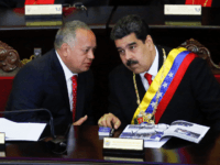 President of Venezuela Nicolás Maduro (R) talks to President of the Constituent Assembly Diosdado Cabello (L) before talkig to judges and members of the Supreme Justice Tribunal on its annual opening day of sessions on January 24 in Caracas, Venezuela. Yesterday opposition leader and head of the National Assembly Juan …